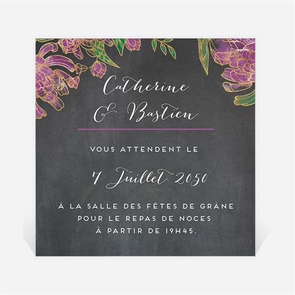Carton d'invitation mariage Ardoise fleurie réf.N3001219