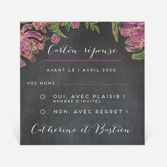 Carton réponse mariage Ardoise fleurie réf.N3001220