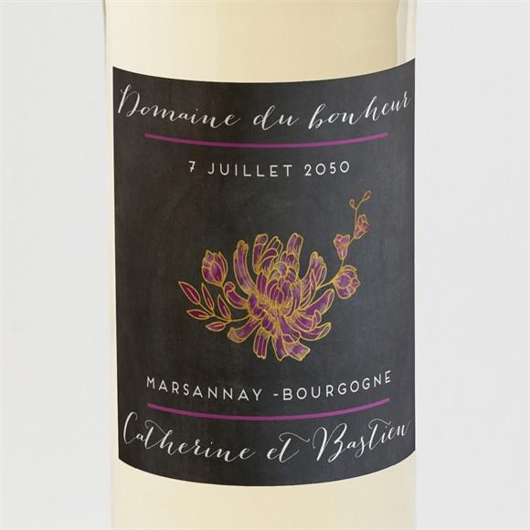 Etiquette de bouteille mariage Ardoise fleurie réf.N3001221