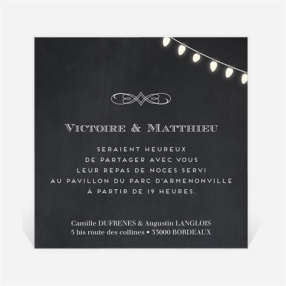 Carton d'invitation mariage Tendance ardoise réf.N3001228
