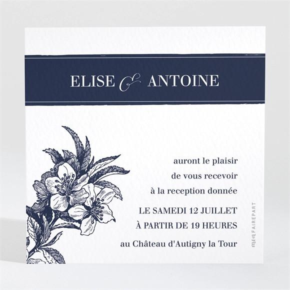 Carton d'invitation mariage Gravure bleu marine réf.N3001231