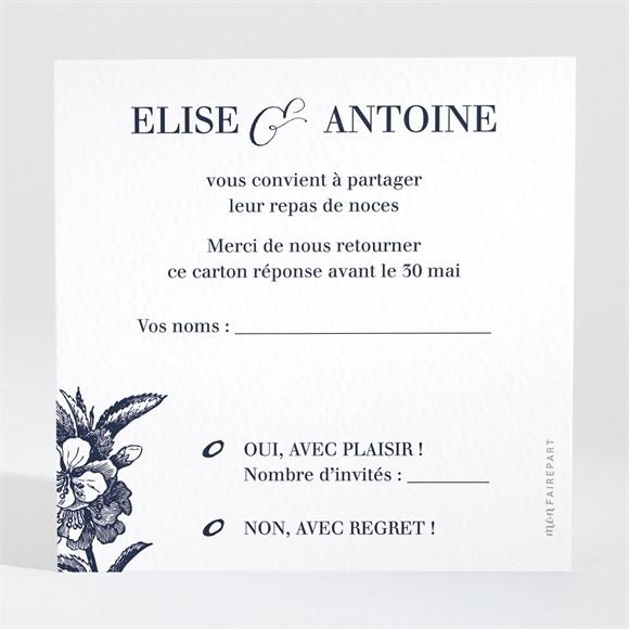 Carton réponse mariage Gravure bleu marine réf.N3001232