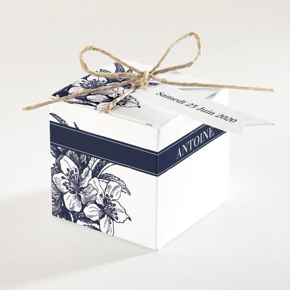 Boîte de dragées mariage Gravure bleu marine réf.N34050
