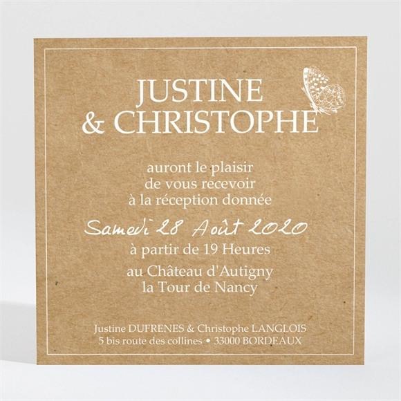 Carton d'invitation mariage Un Papillon sur le Kraft réf.N3001234