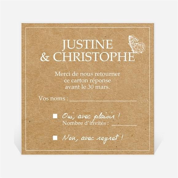 Carton réponse mariage Un Papillon sur le Kraft réf.N3001235