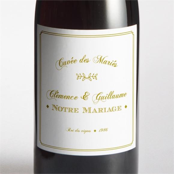 Etiquette de bouteille mariage Classique réf.N3001245