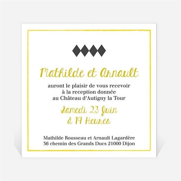 Carton d'invitation mariage Damier geometrique réf.N3001246