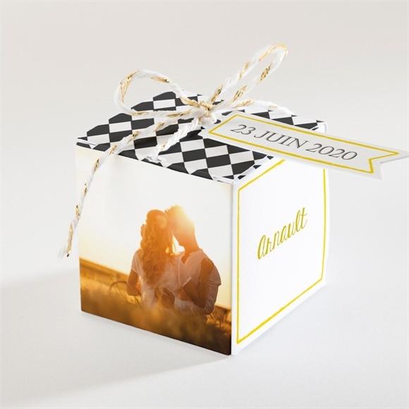 Boîte de dragées mariage Damier geometrique réf.N34055