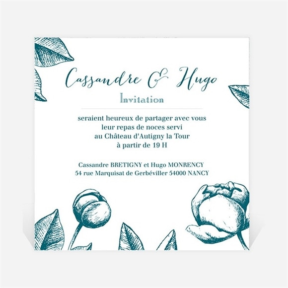 Carton d'invitation mariage Gravure vert émeraude réf.N3001254