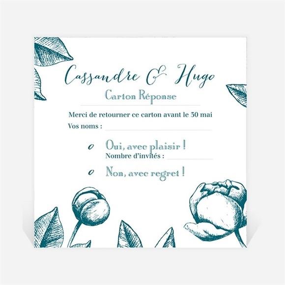 Carton réponse mariage Gravure vert émeraude réf.N3001255