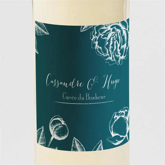 Etiquette de bouteille mariage Gravure vert émeraude réf.N3001256