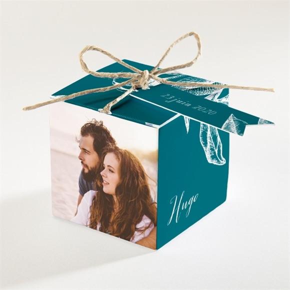 Boîte de dragées mariage Gravure vert émeraude réf.N34057