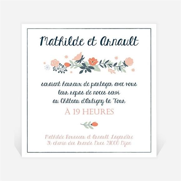 Carton d'invitation mariage Encadrement bleu et saumon réf.N3001257