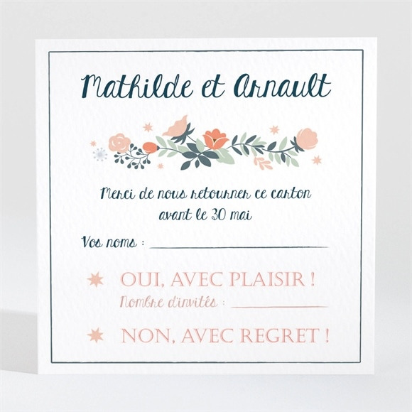 Carton réponse mariage Encadrement bleu et saumon réf.N3001258