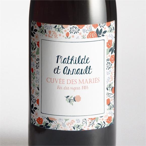 Etiquette de bouteille mariage Encadrement bleu et saumon réf.N3001259