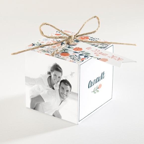 Boîte de dragées mariage Encadrement bleu et saumon réf.N34058