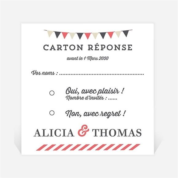 Carton réponse mariage Fanions de Bal réf.N3001265