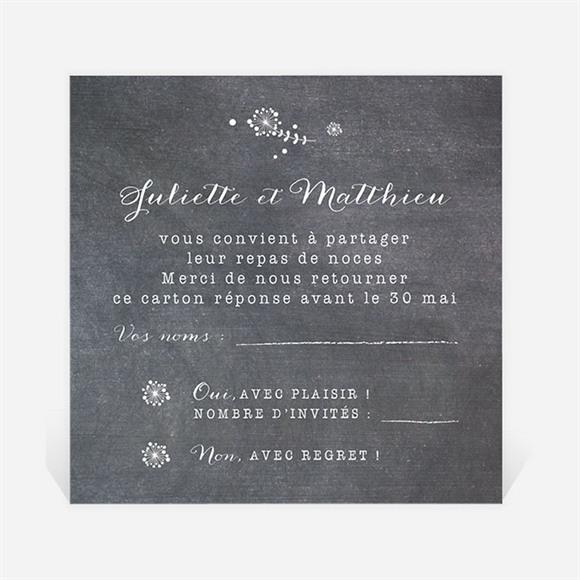 Carton réponse mariage Champêtre sur ardoise réf.N3001271