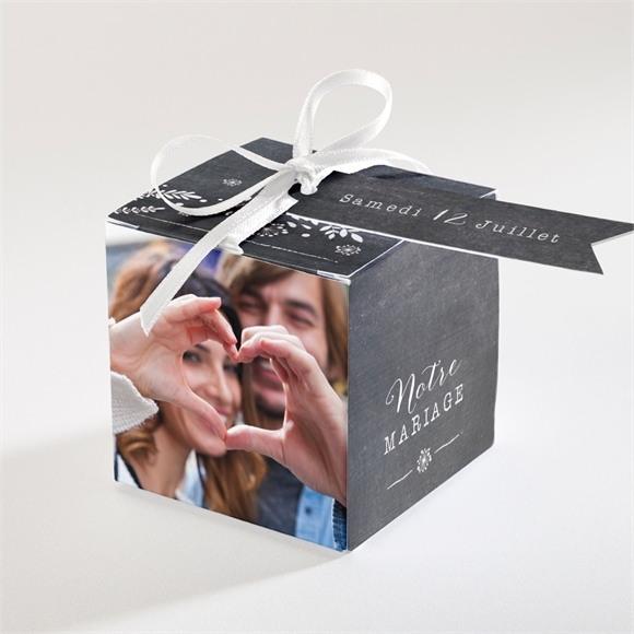 Boîte de dragées mariage Champêtre sur ardoise réf.N34062