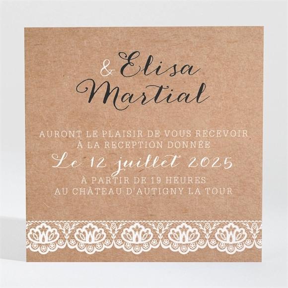 Carton d'invitation mariage Kraft et dentelle réf.N3001273