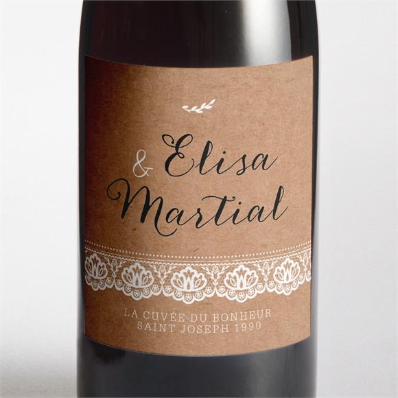 Etiquette de bouteille mariage Kraft et dentelle réf.N3001275