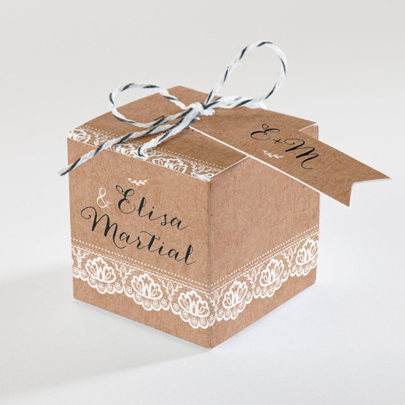 Boîte de dragées mariage Kraft et dentelle réf.N34063