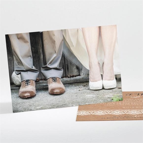 Remerciement mariage Kraft et dentelle réf.N111168