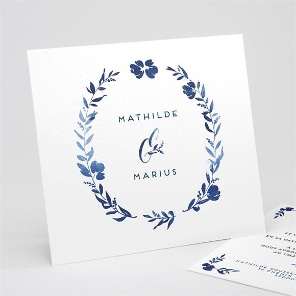 Faire-part mariage Aquarelle bleue réf.N311191