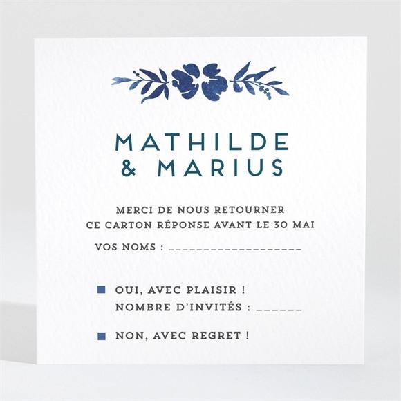 Carton réponse mariage Aquarelle bleue réf.N3001277