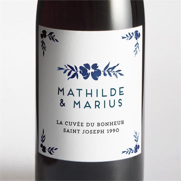 Etiquette de bouteille mariage Aquarelle bleue réf.N3001278