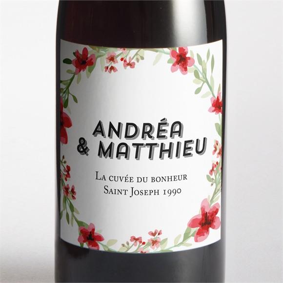 Etiquette de bouteille mariage Farandole végétale réf.N3001281