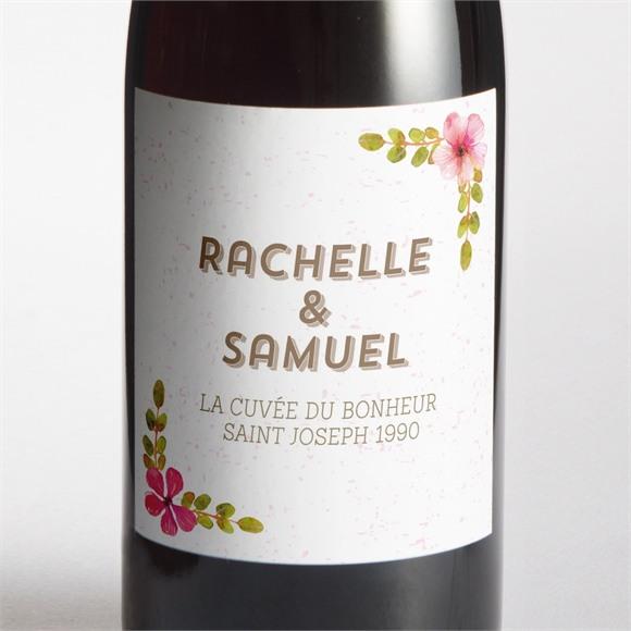 Etiquette de bouteille mariage Couronne printanière réf.N3001284