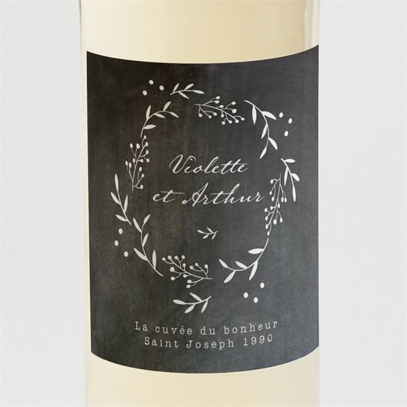 Etiquette de bouteille mariage Gravure sur ardoise réf.N3001287