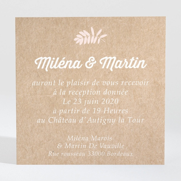 Carton d'invitation mariage Kraft multi photos réf.N3001291