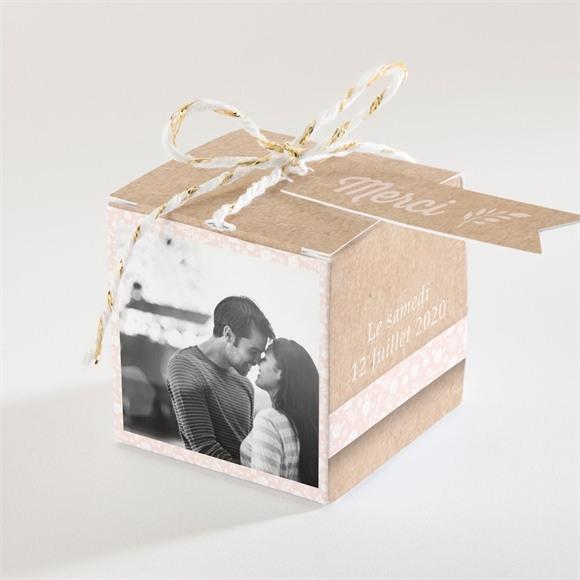 Boîte de dragées mariage Kraft multi photos réf.N34069