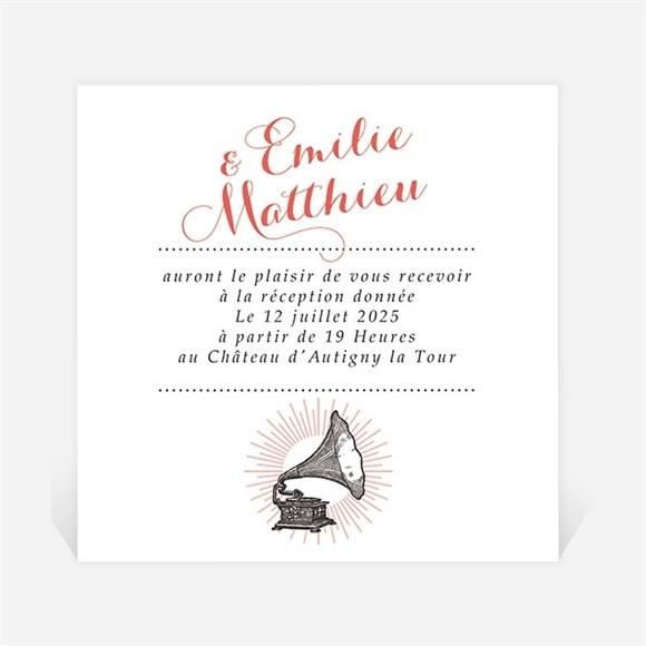 Carton d'invitation mariage Musique vintage réf.N3001294