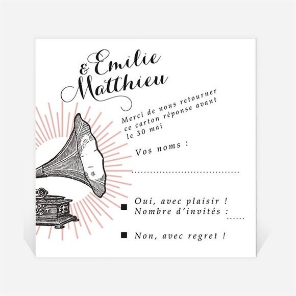 Carton réponse mariage Musique vintage réf.N3001295