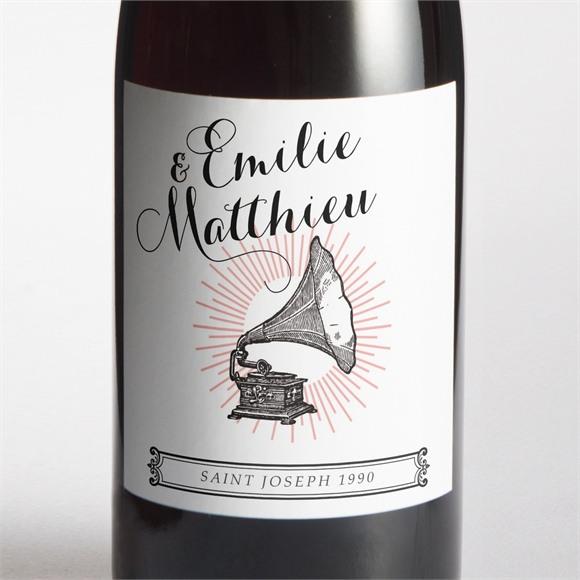 Etiquette de bouteille mariage Musique vintage réf.N3001296