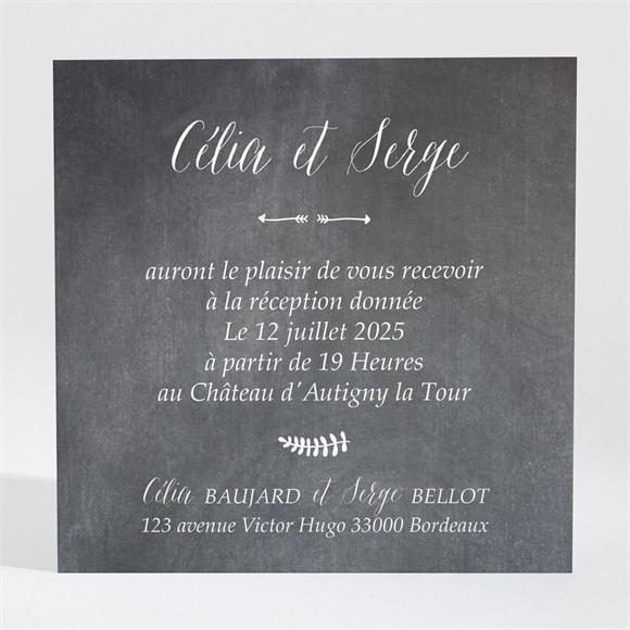 Carton d'invitation mariage Annonce ardoisée réf.N3001306