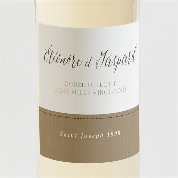 Etiquette de bouteille mariage Kraft et ficelle réf.N3001336