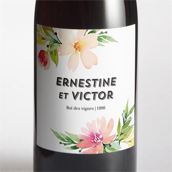 Etiquette de bouteille mariage Fleurs et champetre réf.N3001342