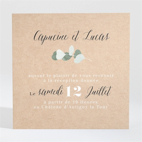 Carton d'invitation mariage Eucalyptus réf.N3001346