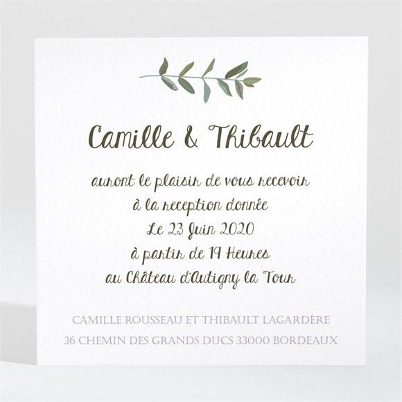 Carton d'invitation mariage Couronne d'olivier réf.N3001349