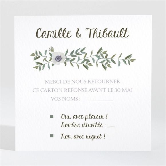 Carton réponse mariage Couronne d'olivier réf.N3001350
