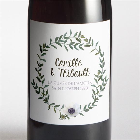 Etiquette de bouteille mariage Couronne d'olivier réf.N3001351