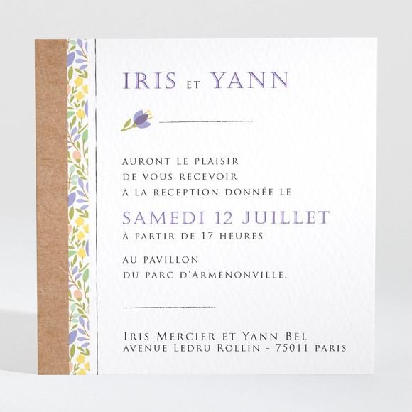Carton d'invitation mariage Kraft et floral réf.N3001356