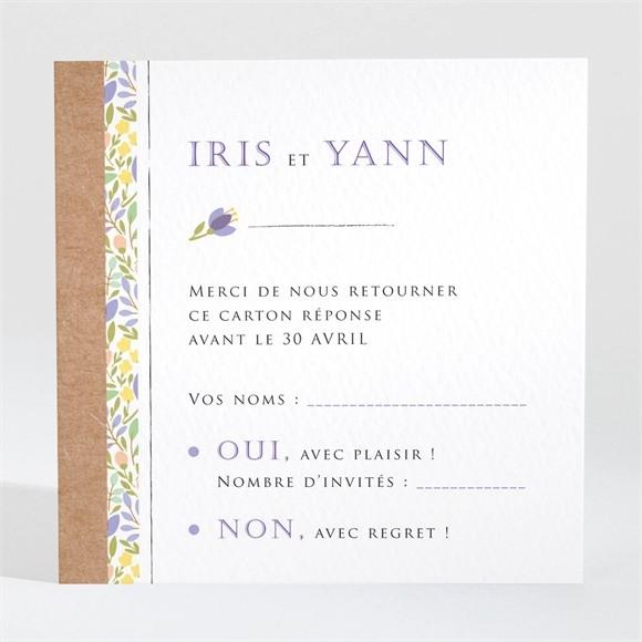 Carton réponse mariage Kraft et floral réf.N3001357