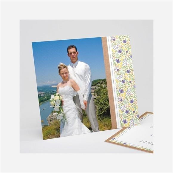 Remerciement mariage Kraft et floral réf.N311198