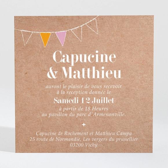 Carton d'invitation mariage Banderoles & Kraft réf.N3001359