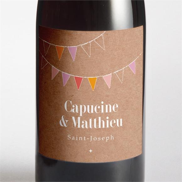Etiquette de bouteille mariage Banderoles & Kraft réf.N3001361